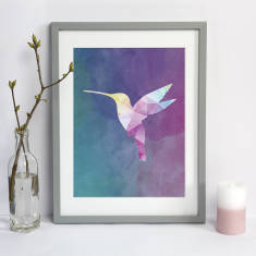 Geometric Watercolour Hummingbird Print