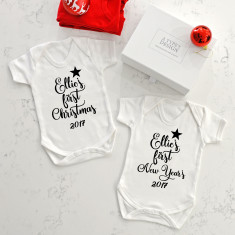 Personalised First Christmas And New Year's Baby Vest Set