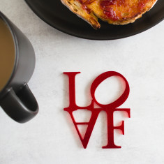 Loaf & Love Red Glitter Coaster