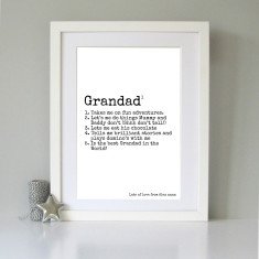 Personalised definition of Grandad art print