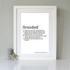 Personalised definition of Grandad art print