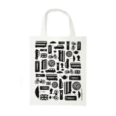 British outline canvas bag - black