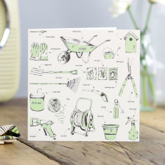 Green fingered gardening greeting card (pack of 6)