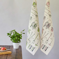 Green fingered organic gardening tea towel