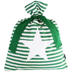 Green classic stripe Santa sack with star design