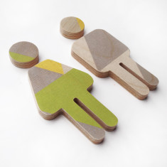 Small plywood male female sign with green, yellow & grey print