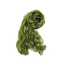 Green with cream spot light silk scarf