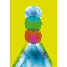 Green Mountain Journey Bright Geometric Archival Quality Art Print