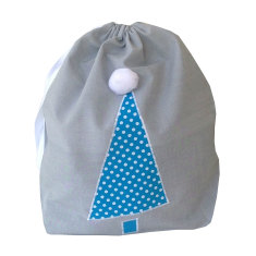 Dotty aqua tree mini Santa sack
