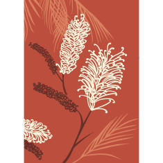 Grevillea art print in desert red