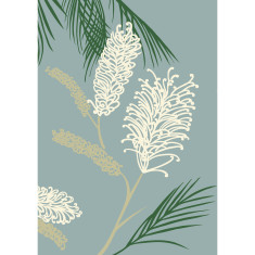 Grevillea art print in duck egg blue
