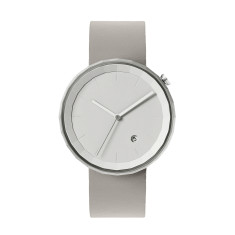 Polygon watch with silver case and grey leather strap