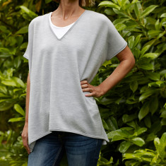 Merino wool layering top in grey