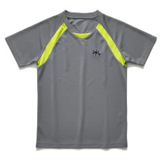 Boys Grey and green active sports tee