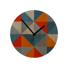Objectify Grid Wall Clock  - Orange/Grey