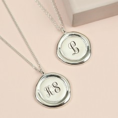 Personalised Sterling Silver Wax Seal Pendant Necklace