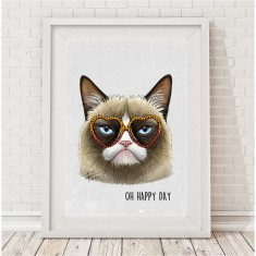 Oh happy day grumpy cat print