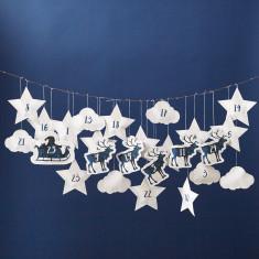 Santa And Reindeer Hanging Advent Calendar