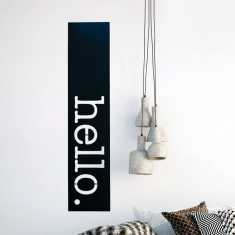 Matt black steel hello artwork for indoors and outdoors
