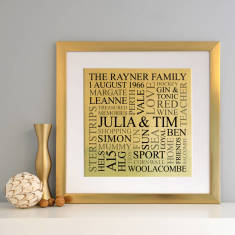 Personalised Framed Memories Gold Metallic Word Art