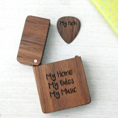 Personalised Wooden Engraved Plectrum & Plectrum Box