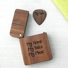 Personalised Wooden Engraved Plectrum & Plectrum Box