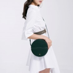 Leather Circle Box Crossbody Bag In Green