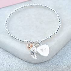 Personalised angel wing bracelet
