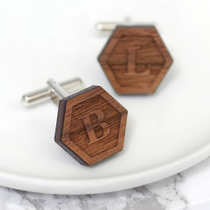Personalised Walnut Wood Hexagon Cufflinks