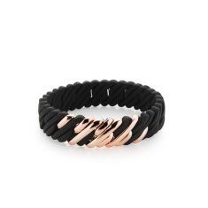 Mini woven pixel bracelet in black and rose gold