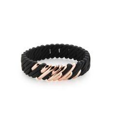 Mini woven pixel bracelet in black and rose gold