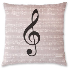 Musical Notes Symbol linen cushion cover