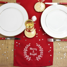 Merry And Bright Christmas Table Runner
