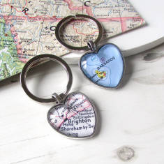 Personalised location map heart key ring