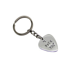 Personalised sterling silver guitar pick key chain