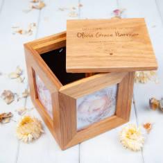 Newborn Personalised Oak Photo Cube Memory Box