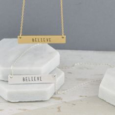 Believe Inspirational Bar Charm Necklace