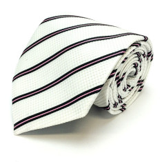Striped silk tie in white, black & pink