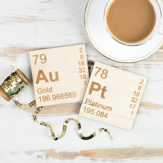 Au-Pt Periodic Table wooden coasters set for gold & platinum