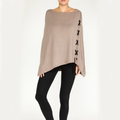 Cashmere cross detail poncho