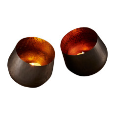 Spark votive in copper or gold