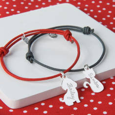 Personalised Dog Or Cat Charm Bracelet for children (various colours)
