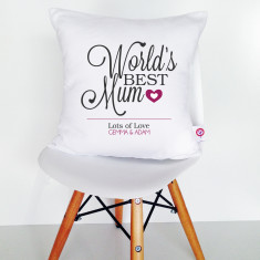 World's best mum personalised cotton cushion cover