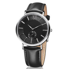 Engraved men's watch with genuine leather band (black)