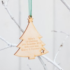 Personalised Birchwood Tree Christmas Baubles