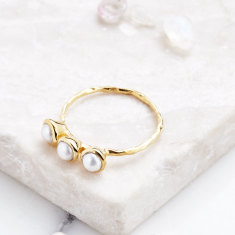 Fine 3 Stone Ring In Gold Plate with Pearl