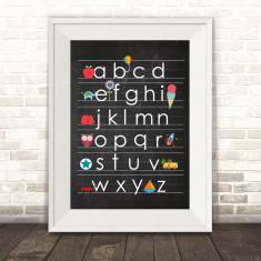 Blackboard alphabet print