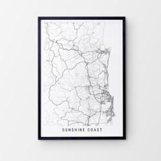 Sunshine Coast minimalist map print