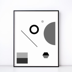 Fete No. 1 Monochrome Geometric Art Print
