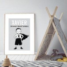 Personalised superboy art print (various sizes)